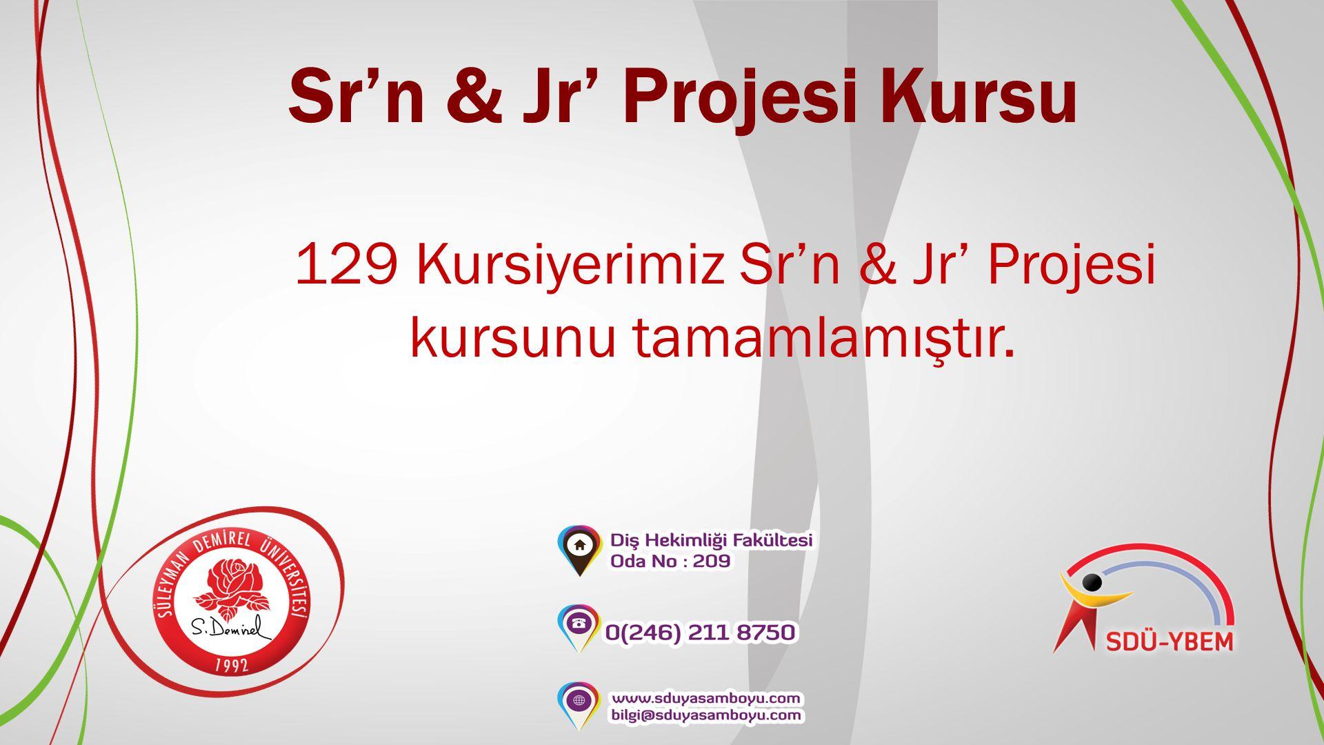 Sr'n & Jr' Projesi Kursu 129 Kursiyerimiz Sr'n & Jr' Projesi kursunu tamamlamıştır.