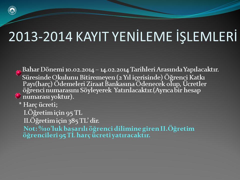 Bahar Dönemi 10.02.2014 – 14.02.2014 Tarihleri Arasında Yapılacaktır.