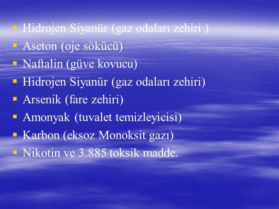   Hidrojen Siyanür (gaz odaları zehiri )   Aseton (oje sökücü)   Naftalin (güve kovucu)   Hidrojen Siyanür (gaz odaları zehiri)   Arsenik (f