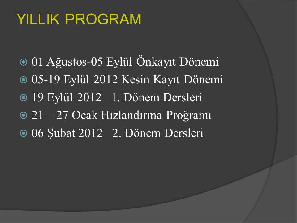 YILLIK PROGRAM  01 Ağustos-05 Eylül Önkayıt Dönemi  05-19 Eylül 2012 Kesin Kayıt Dönemi  19 Eylül 2012 1.