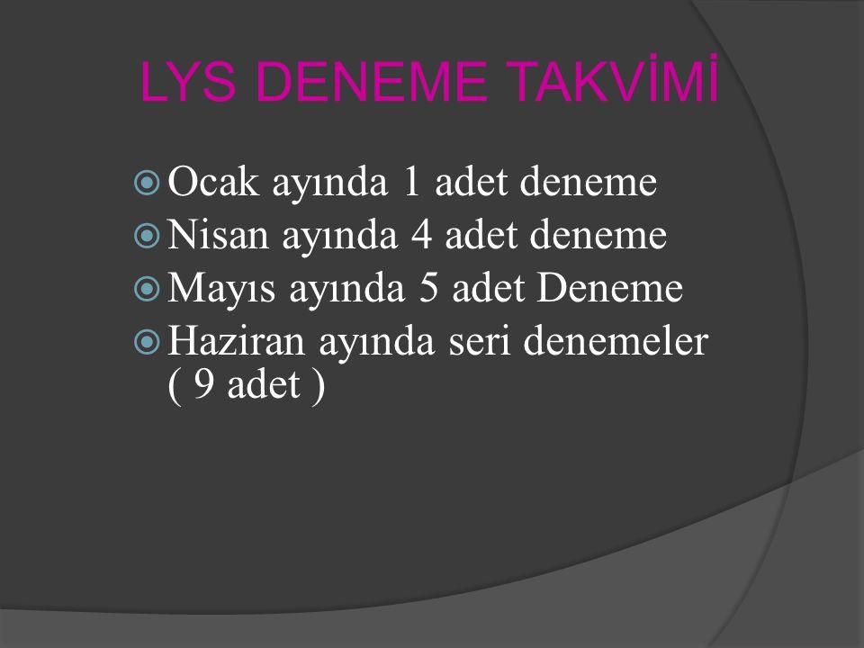 LYS DENEME TAKVİMİ  Ocak ayında 1 adet deneme  Nisan ayında 4 adet deneme  Mayıs ayında 5 adet Deneme  Haziran ayında seri denemeler ( 9 adet )