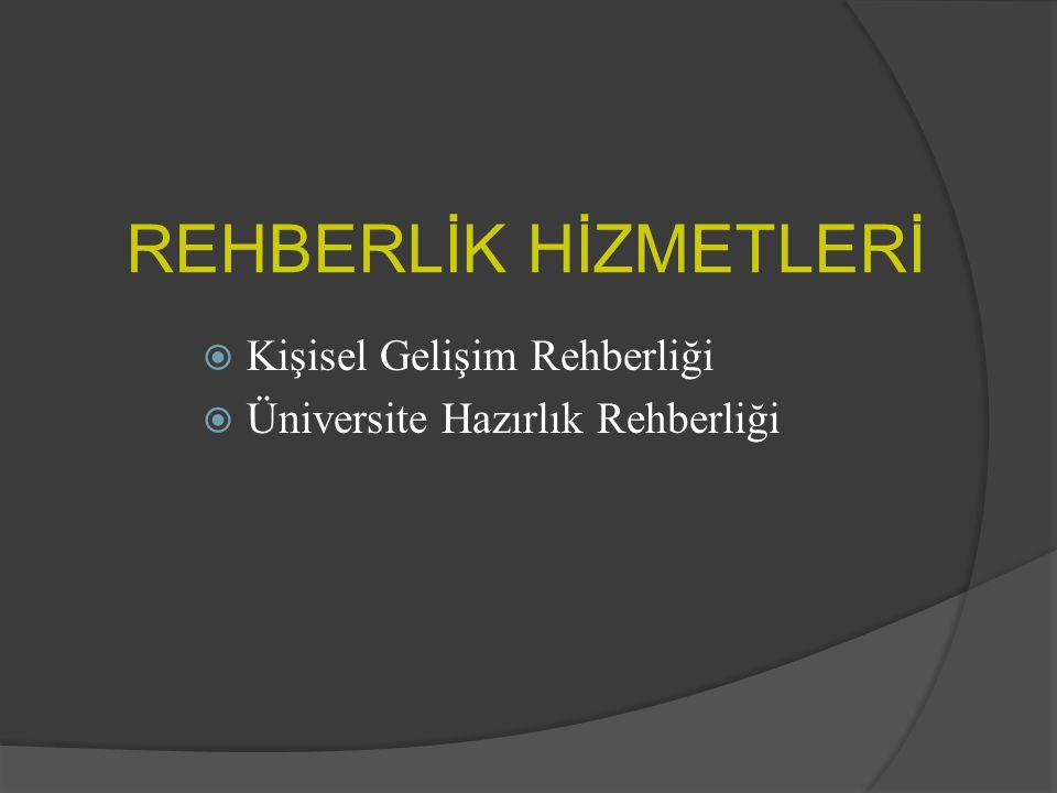 REHBERLİK HİZMETLERİ  Kişisel Gelişim Rehberliği  Üniversite Hazırlık Rehberliği
