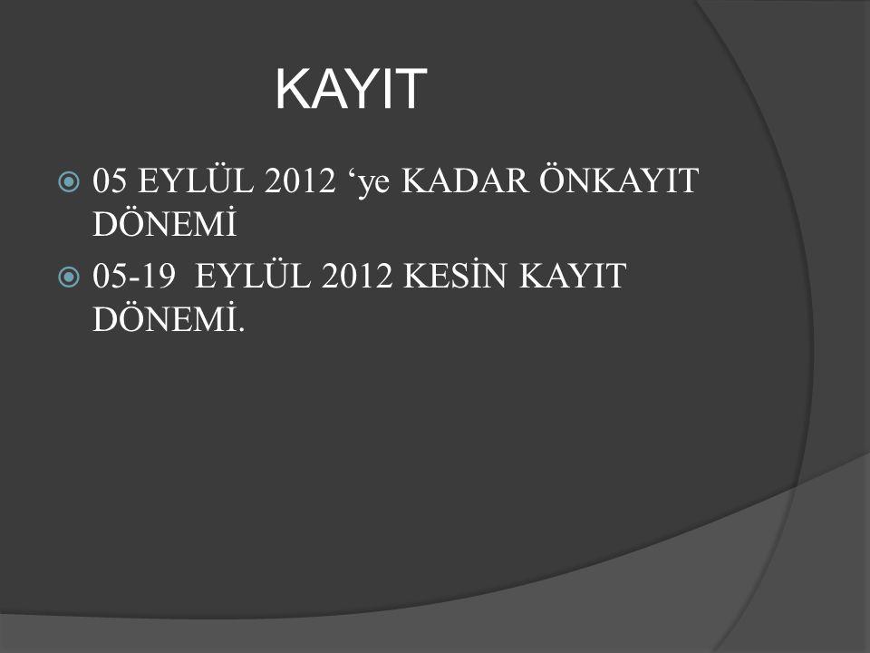KAYIT  05 EYLÜL 2012 'ye KADAR ÖNKAYIT DÖNEMİ  05-19 EYLÜL 2012 KESİN KAYIT DÖNEMİ.