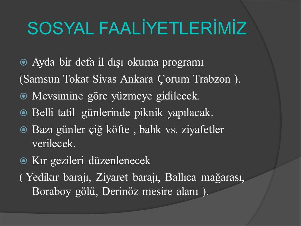 SOSYAL FAALİYETLERİMİZ  Ayda bir defa il dışı okuma programı (Samsun Tokat Sivas Ankara Çorum Trabzon ).