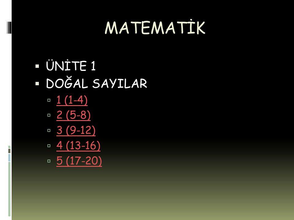 MATEMATİK  ÜNİTE 1  DOĞAL SAYILAR  1 (1-4) 1 (1-4)  2 (5-8) 2 (5-8)  3 (9-12) 3 (9-12)  4 (13-16) 4 (13-16)  5 (17-20) 5 (17-20)