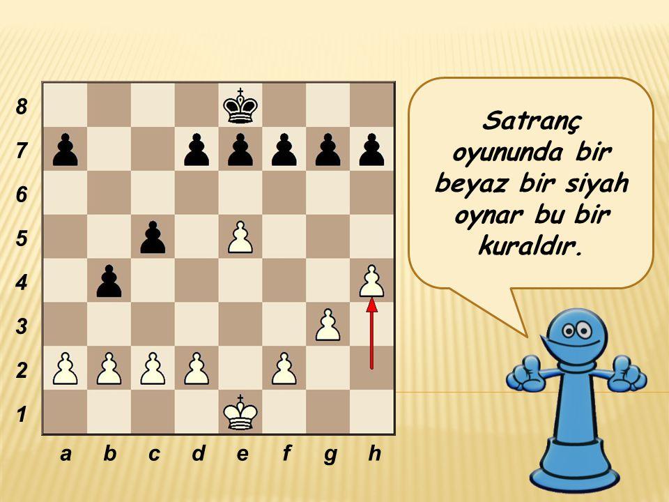 Satranç oyununda bir beyaz bir siyah oynar bu bir kuraldır. abcdefgh 8 7 6 5 4 3 2 1