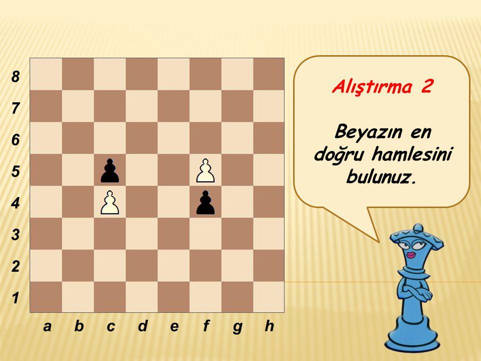 Alıştırma 2 Beyazın en doğru hamlesini bulunuz. abcdefgh 8 7 6 5 4 3 2 1