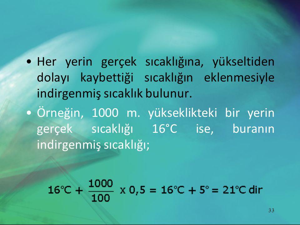 •Her yerin gerçek sıcaklığına, yükseltiden dolayı kaybettiği sıcaklığın eklenmesiyle indirgenmiş sıcaklık bulunur. •Örneğin, 1000 m. yükseklikteki bir
