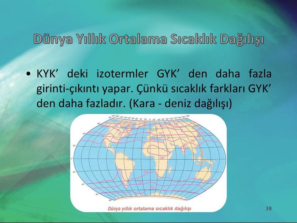 •KYK' deki izotermler GYK' den daha fazla girinti-çıkıntı yapar. Çünkü sıcaklık farkları GYK' den daha fazladır. (Kara - deniz dağılışı) 38