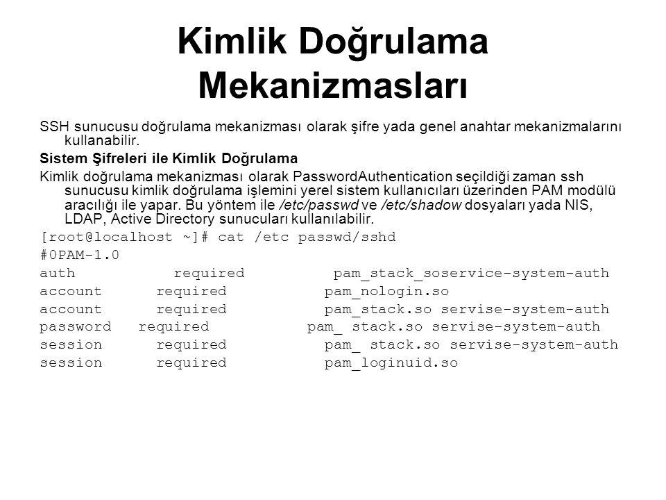 Kimlik Doğrulama Mekanizmasları SSH sunucusu doğrulama mekanizması olarak şifre yada genel anahtar mekanizmalarını kullanabilir. Sistem Şifreleri ile