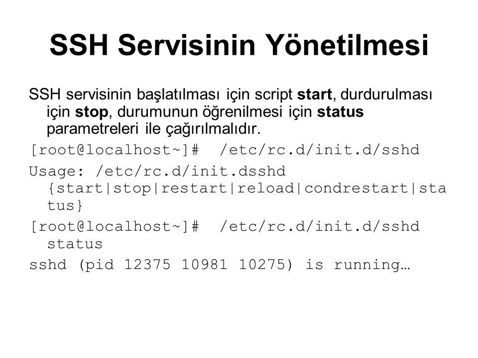 SSH Servisinin Yönetilmesi SSH servisinin başlatılması için script start, durdurulması için stop, durumunun öğrenilmesi için status parametreleri ile