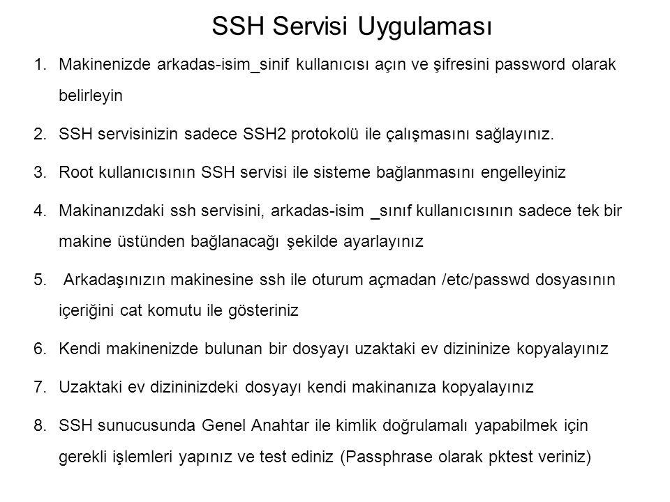 SSH Servisi Uygulaması 1.Makinenizde arkadas-isim_sinif kullanıcısı açın ve şifresini password olarak belirleyin 2.SSH servisinizin sadece SSH2 protok