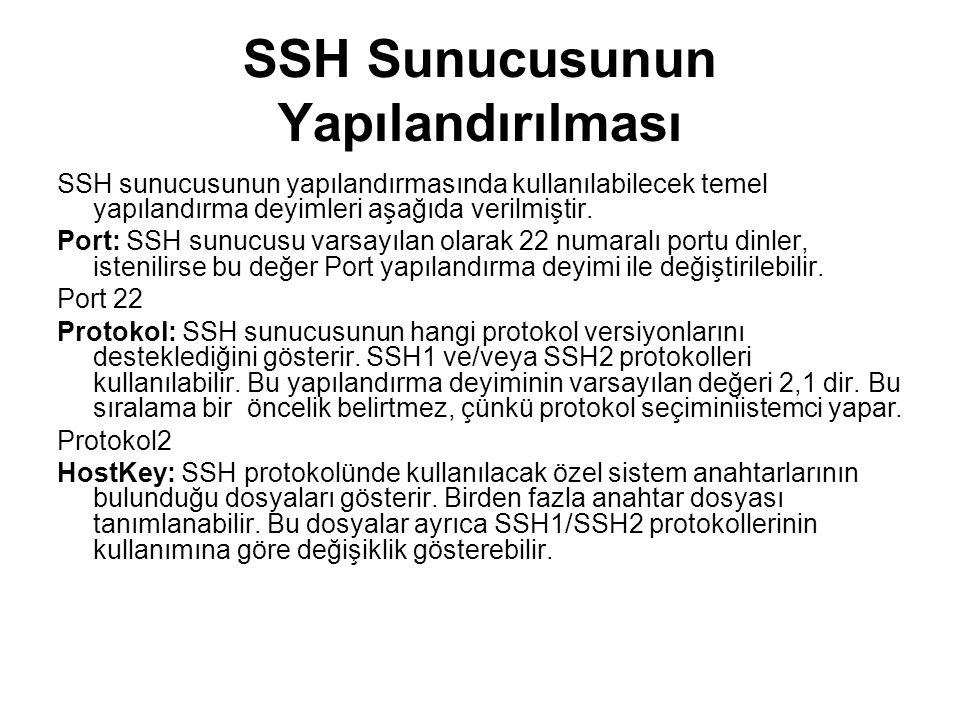 SSH Sunucusunun Yapılandırılması SSH sunucusunun yapılandırmasında kullanılabilecek temel yapılandırma deyimleri aşağıda verilmiştir. Port: SSH sunucu