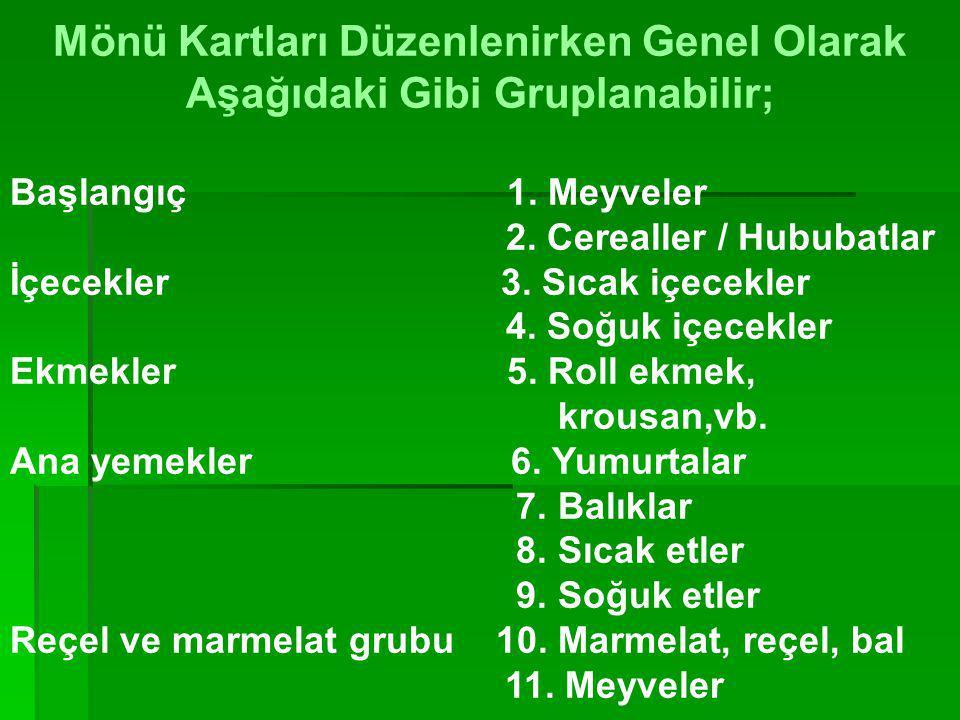 Türk usulü kahvaltı SSıcak içeceklerden çay çeşitleri ( sade, limonlu, meyve, bitki vb. ) TTereyağı, RReçel, bal, PPeynir çeşitleri, ZZeytin