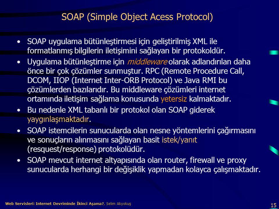 15 Web Servisleri: Internet Devriminde İkinci Aşama?, Selim Akyokuş Web Servisleri: Internet Devriminde İkinci Aşama?, Selim Akyokuş SOAP (Simple Obje