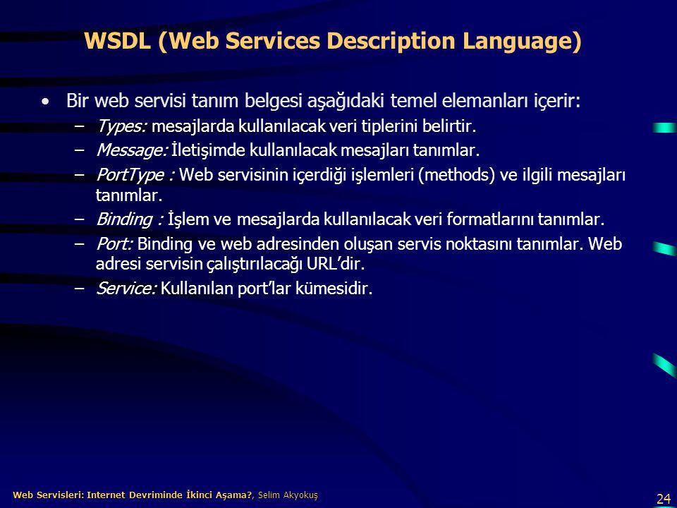 24 Web Servisleri: Internet Devriminde İkinci Aşama?, Selim Akyokuş Web Servisleri: Internet Devriminde İkinci Aşama?, Selim Akyokuş WSDL (Web Service