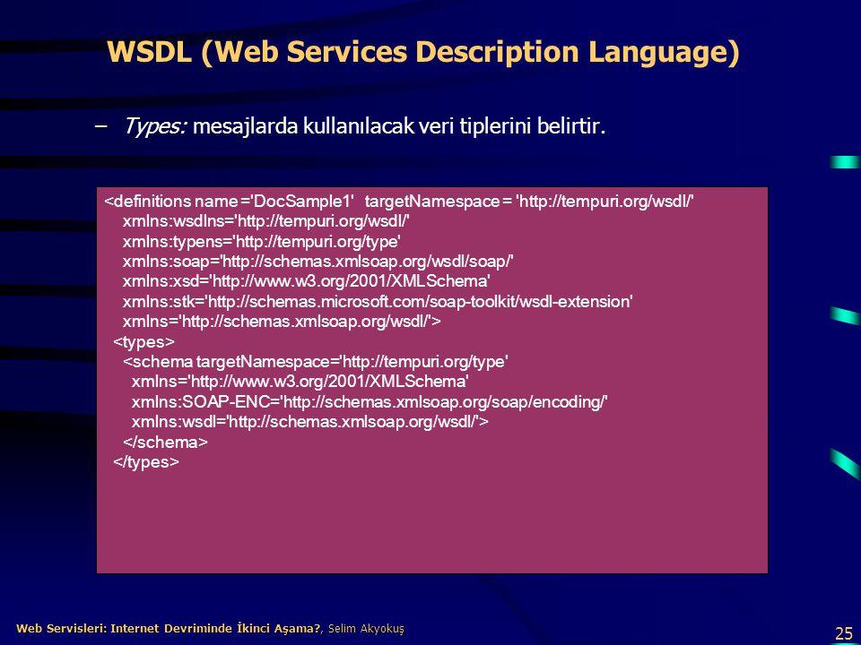 25 Web Servisleri: Internet Devriminde İkinci Aşama?, Selim Akyokuş Web Servisleri: Internet Devriminde İkinci Aşama?, Selim Akyokuş WSDL (Web Service