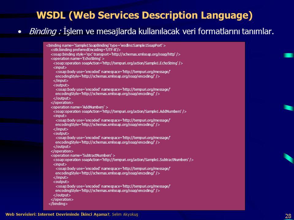 28 Web Servisleri: Internet Devriminde İkinci Aşama?, Selim Akyokuş Web Servisleri: Internet Devriminde İkinci Aşama?, Selim Akyokuş WSDL (Web Service