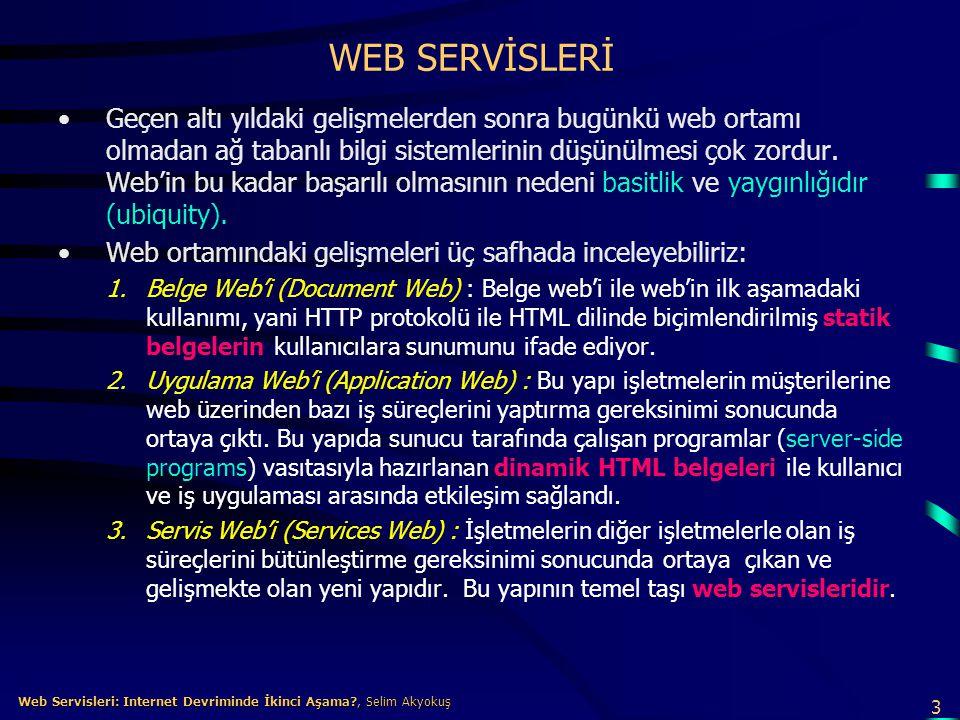 14 Web Servisleri: Internet Devriminde İkinci Aşama?, Selim Akyokuş Web Servisleri: Internet Devriminde İkinci Aşama?, Selim Akyokuş Web Servisleri Standartları •Web servisleri açık internet standartlarına dayanır.