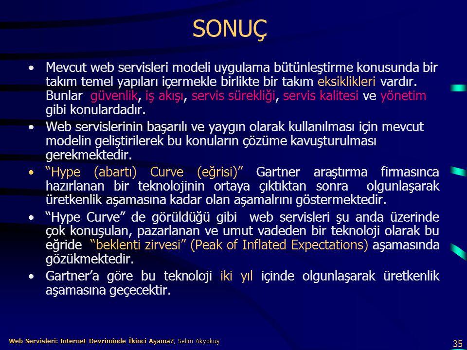 35 Web Servisleri: Internet Devriminde İkinci Aşama?, Selim Akyokuş Web Servisleri: Internet Devriminde İkinci Aşama?, Selim Akyokuş SONUÇ •Mevcut web