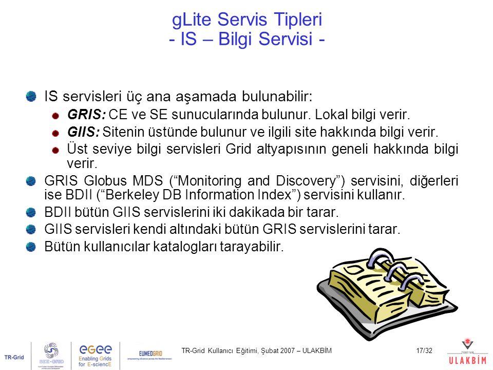 TR-Grid Kullanıcı Eğitimi, Şubat 2007 – ULAKBİM17/32 gLite Servis Tipleri - IS – Bilgi Servisi - IS servisleri üç ana aşamada bulunabilir: GRIS: CE ve