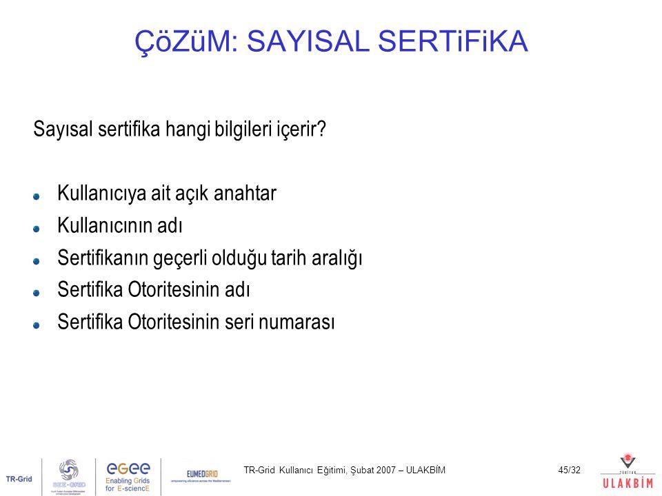 TR-Grid Kullanıcı Eğitimi, Şubat 2007 – ULAKBİM45/32 ÇöZüM: SAYISAL SERTiFiKA Sayısal sertifika hangi bilgileri içerir? Kullanıcıya ait açık anahtar K