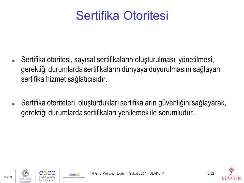 TR-Grid Kullanıcı Eğitimi, Şubat 2007 – ULAKBİM46/32 Sertifika Otoritesi Sertifika otoritesi, sayısal sertifikaların oluşturulması, yönetilmesi, gerek