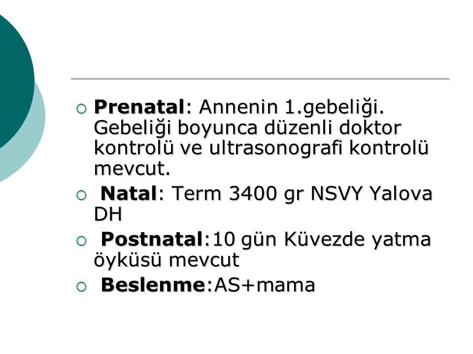  Prenatal: Annenin 1.gebeliği. Gebeliği boyunca düzenli doktor kontrolü ve ultrasonografi kontrolü mevcut.  Natal: Term 3400 gr NSVY Yalova DH  Pos