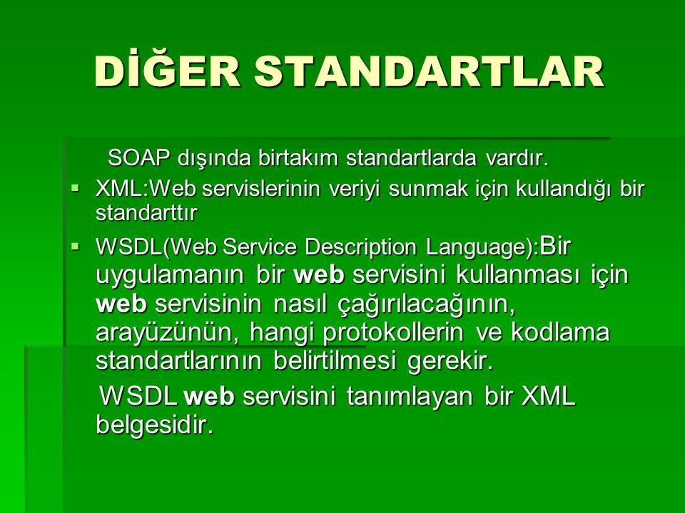DİĞER STANDARTLAR SOAP dışında birtakım standartlarda vardır. SOAP dışında birtakım standartlarda vardır.  XML:Web servislerinin veriyi sunmak için k