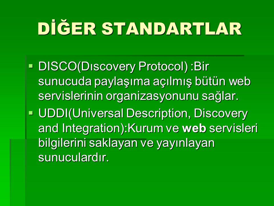 DİĞER STANDARTLAR  DISCO(Dıscovery Protocol) :Bir sunucuda paylaşıma açılmış bütün web servislerinin organizasyonunu sağlar.  UDDI(Universal Descrip
