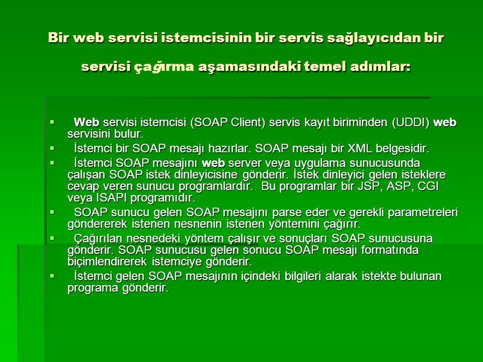 Bir web servisi istemcisinin bir servis sağlayıcıdan bir servisi aşamasındaki temel adımlar: Bir web servisi istemcisinin bir servis sağlayıcıdan bir servisi çağırma aşamasındaki temel adımlar:  Web servisi istemcisi (SOAP Client) servis kayıt biriminden (UDDI) web servisini bulur.