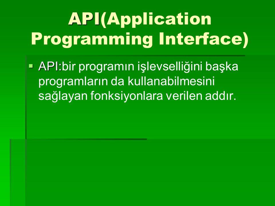 API API(Application Programming Interface)  API:  API:bir programın işlevselliğini başka programların da kullanabilmesini sağlayan fonksiyonlara verilen addır.
