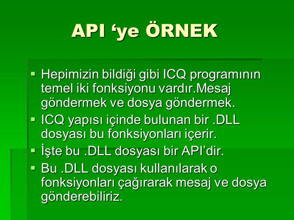 API 'ye ÖRNEK API 'ye ÖRNEK  Hepimizin bildiği gibi ICQ programının temel iki fonksiyonu vardır.Mesaj göndermek ve dosya göndermek.  ICQ yapısı için
