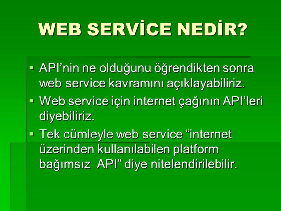 WEB SERVİCE NEDİR?  API'nin ne olduğunu öğrendikten sonra web service kavramını açıklayabiliriz.  Web service için internet çağının API'leri diyebil