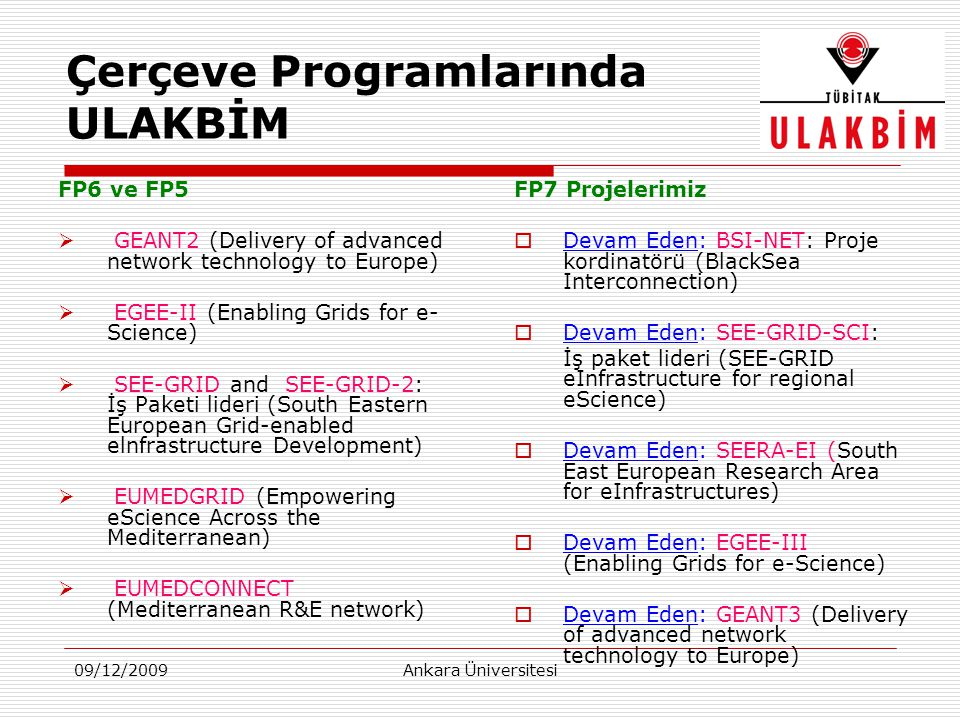 09/12/2009Ankara Üniversitesi Çerçeve Programlarında ULAKBİM FP6 ve FP5  GEANT2 (Delivery of advanced network technology to Europe)  EGEE-II (Enabli