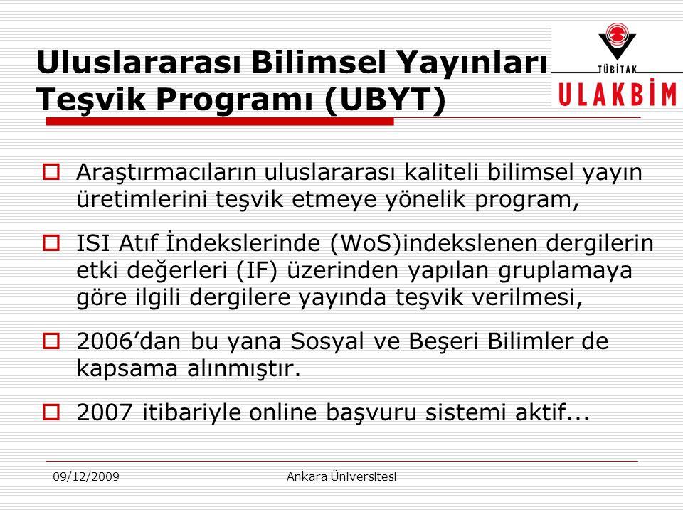 09/12/2009Ankara Üniversitesi Uluslararası Bilimsel Yayınları Teşvik Programı (UBYT)  Araştırmacıların uluslararası kaliteli bilimsel yayın üretimler