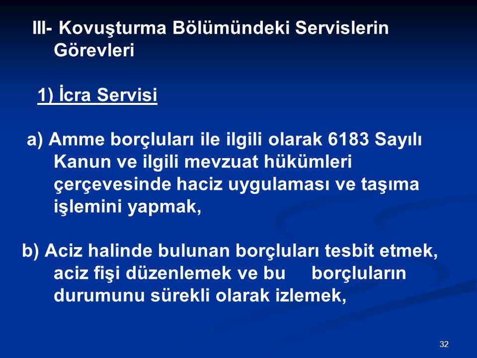 32 III- Kovuşturma Bölümündeki Servislerin Görevleri 1) İcra Servisi a) Amme borçluları ile ilgili olarak 6183 Sayılı Kanun ve ilgili mevzuat hükümler