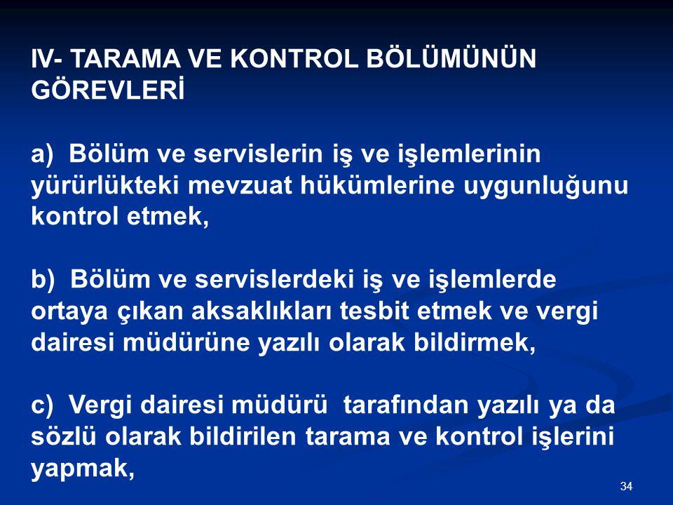 34 IV- TARAMA VE KONTROL BÖLÜMÜNÜN GÖREVLERİ a) Bölüm ve servislerin iş ve işlemlerinin yürürlükteki mevzuat hükümlerine uygunluğunu kontrol etmek, b)