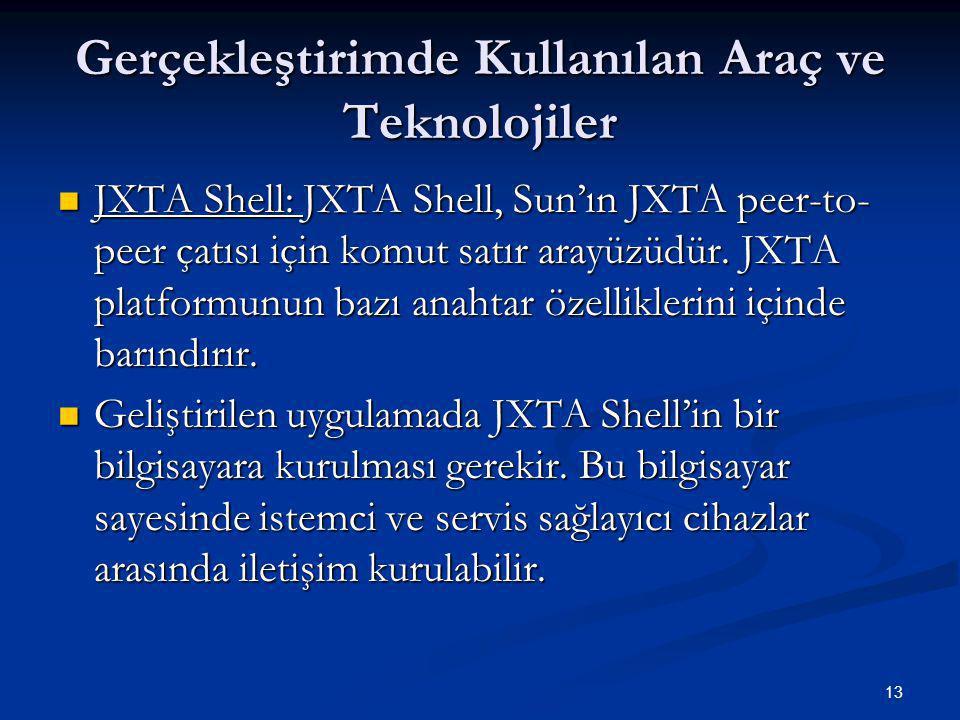 13 Gerçekleştirimde Kullanılan Araç ve Teknolojiler  JXTA Shell: JXTA Shell, Sun'ın JXTA peer-to- peer çatısı için komut satır arayüzüdür.