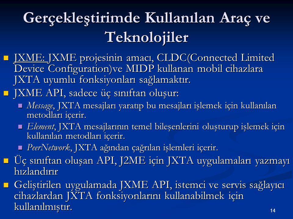 14 Gerçekleştirimde Kullanılan Araç ve Teknolojiler  JXME: JXME projesinin amacı, CLDC(Connected Limited Device Configuration)ve MIDP kullanan mobil cihazlara JXTA uyumlu fonksiyonları sağlamaktır.