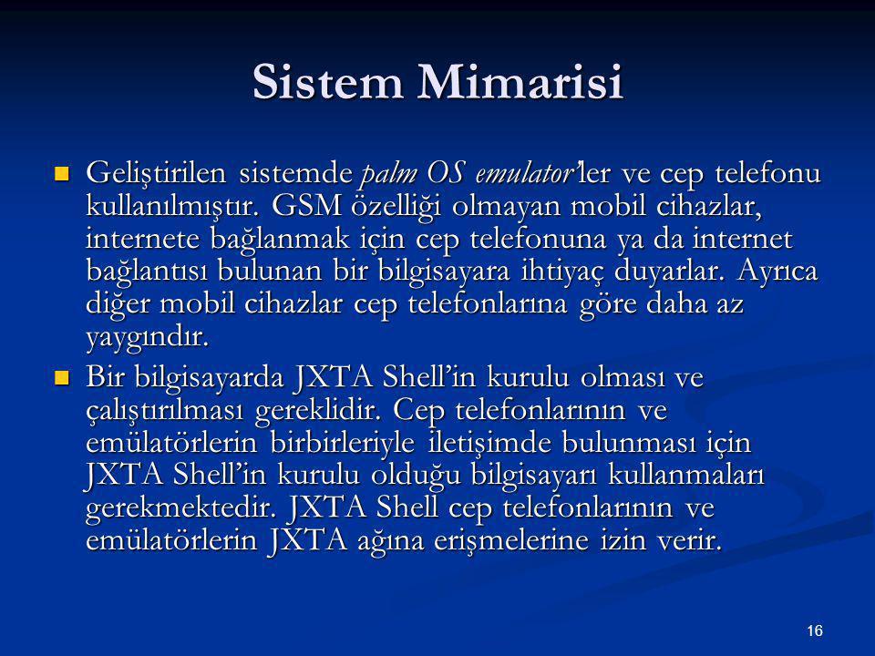 16 Sistem Mimarisi  Geliştirilen sistemde palm OS emulator'ler ve cep telefonu kullanılmıştır.