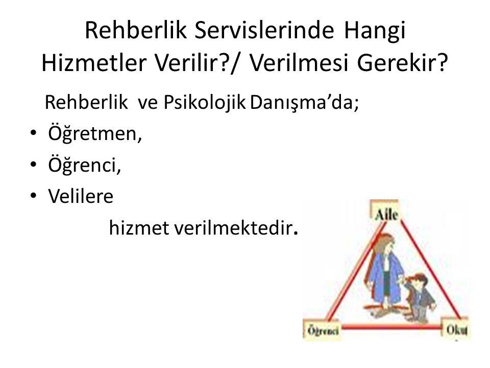 Rehberlik Servislerinde Hangi Hizmetler Verilir?/ Verilmesi Gerekir.