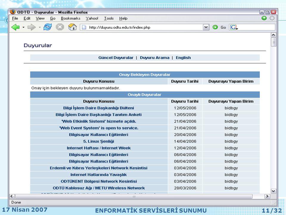 17 Nisan 2007 ENFORMATİK SERVİSLERİ SUNUMU11/32