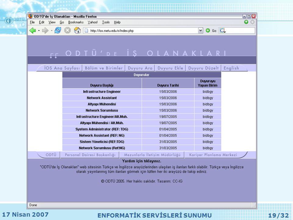 17 Nisan 2007 ENFORMATİK SERVİSLERİ SUNUMU19/32