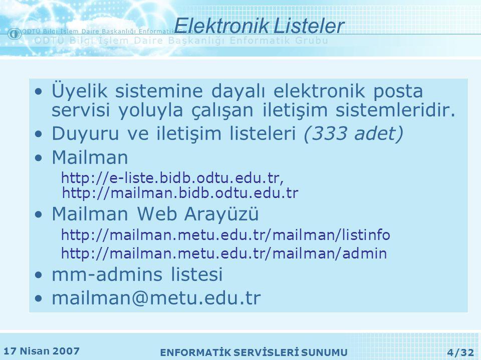 17 Nisan 2007 ENFORMATİK SERVİSLERİ SUNUMU4/32 Elektronik Listeler •Üyelik sistemine dayalı elektronik posta servisi yoluyla çalışan iletişim sistemleridir.