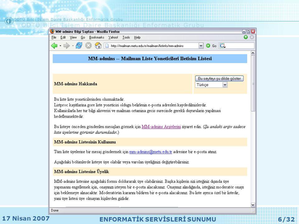 17 Nisan 2007 ENFORMATİK SERVİSLERİ SUNUMU27/32