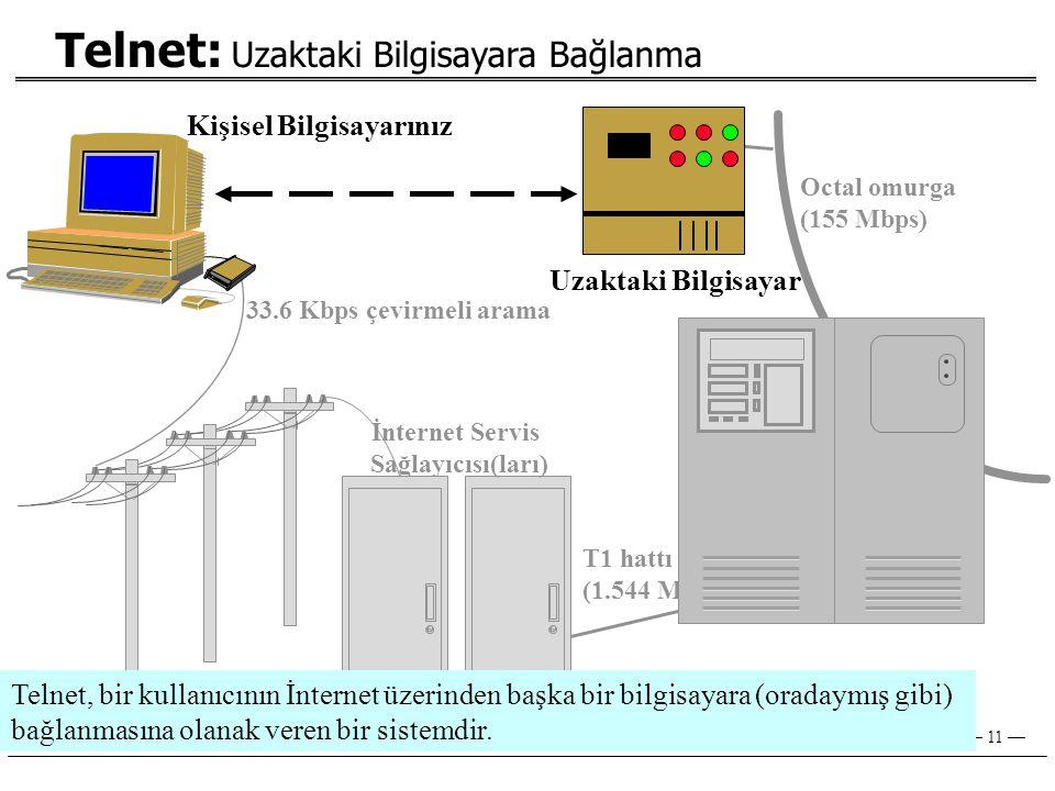— 11 — Kişisel Bilgisayarınız İnternet Servis Sağlayıcısı(ları) 33.6 Kbps çevirmeli arama T1 hattı ulaşımı (1.544 Mbps) Octal omurga (155 Mbps) Telnet: Uzaktaki Bilgisayara Bağlanma Uzaktaki Bilgisayar Telnet, bir kullanıcının İnternet üzerinden başka bir bilgisayara (oradaymış gibi) bağlanmasına olanak veren bir sistemdir.