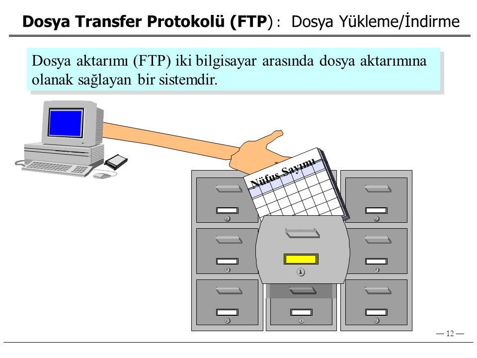 — 12 — Dosya Transfer Protokolü (FTP) : Dosya Yükleme/İndirme Nüfus Sayımı Dosya aktarımı (FTP) iki bilgisayar arasında dosya aktarımına olanak sağlayan bir sistemdir.