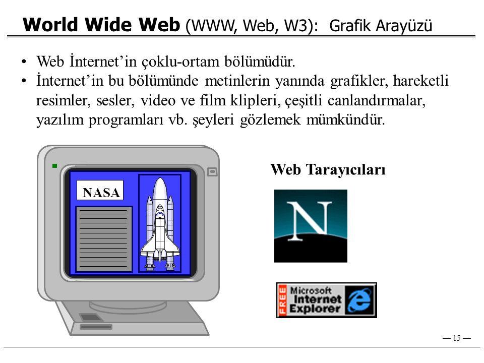— 15 — World Wide Web (WWW, Web, W3): Grafik Arayüzü NASA Web Tarayıcıları •Web İnternet'in çoklu-ortam bölümüdür.
