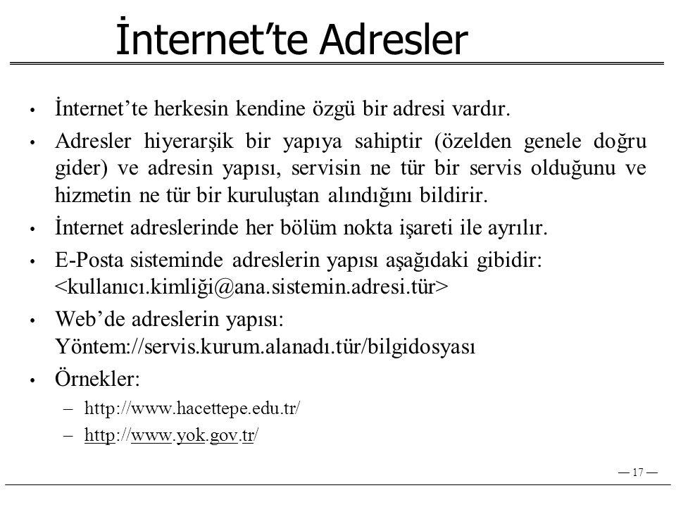 — 17 — İnternet'te Adresler • İnternet'te herkesin kendine özgü bir adresi vardır.